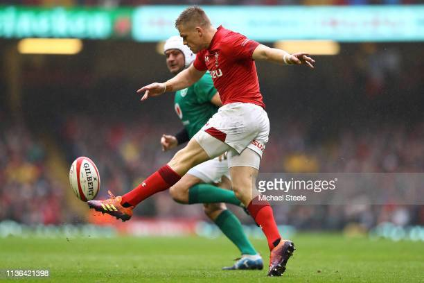 Gareth Anscombe of Wales kicks for position during the Guinness Six Nations match between Wales and Ireland at Principality Stadium on March 16 2019...
