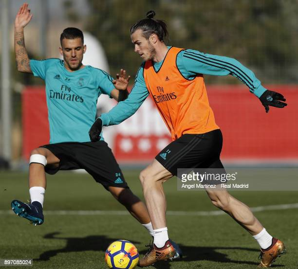 Gareth Bale and Dani Ceballos of Real Madrid in action during a training session at Valdebebas training ground on December 22 2017 in Madrid Spain