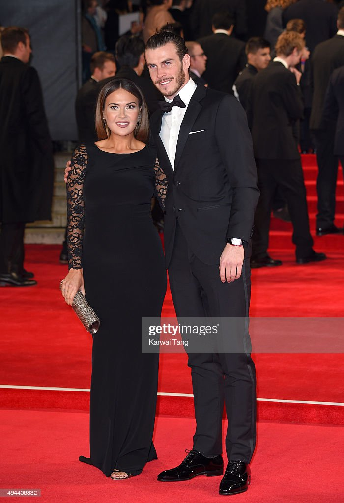 Gareth Bale and Emma Rhys-Jones attend the Royal Film Performance of 'Spectre' at the Royal Albert Hall on October 26, 2015 in London, England.