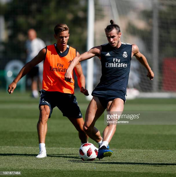 Borja Mayoral of Real Madrid in action during a training session at Valdebebas training ground on July 19 2018 in Madrid Spain