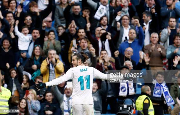 Gareth Bale celebrate after he scored a goal Real Madrid faced Deportivo de la Coruña at the Santiago Bernabeu stadium during the Spanish league game...