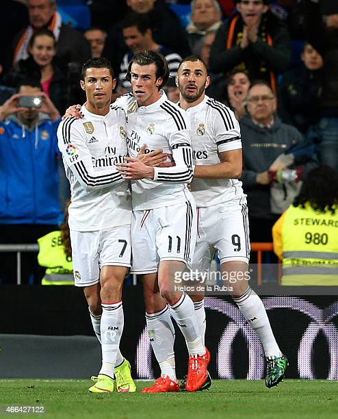 Gareth Bale Cristiano Ronaldo and Karim Benzema celebrate after ascoring of Real Madrid during the La Liga match between Real Madrid CF and Levante...