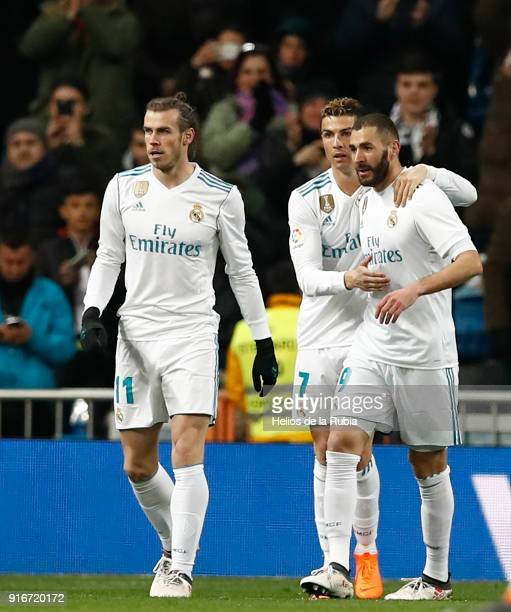 Gareth Bale Cristiano Ronaldo and Karim Benzema of Real Madrid celebrate afer scoring during the La Liga match between Real Madrid and Real Sociedad...