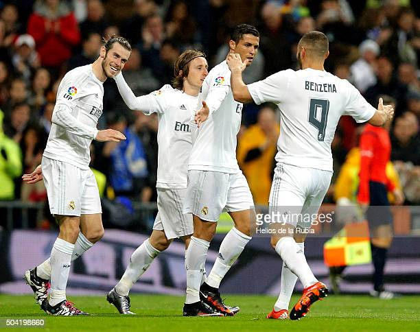 Gareth Bale Cristiano Ronaldo Luka Modric and Karim Benzema of Real Madrid celebrate after scoring during the La Liga match between Real Madrid CF...