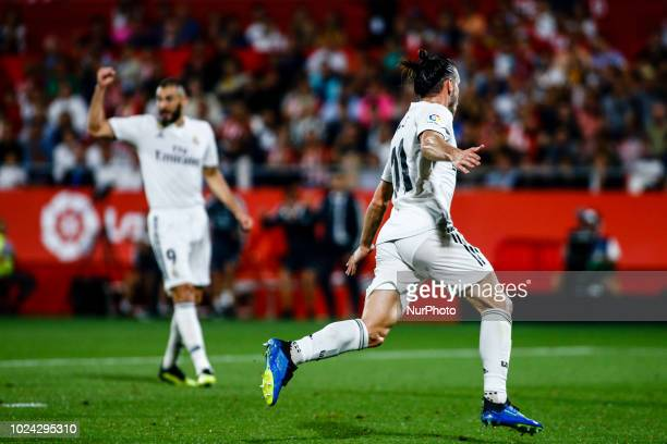 11 Gareth Bale from Gales of Real Madrid celebrating his goal during the La Liga game between Girona FC against Real Madrid in Montilivi Stadium at...