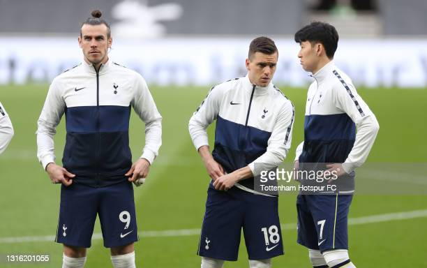 Gareth Bale, Giovani Lo Celso and Heung-Min Son of Tottenham Hotspur during the Premier League match between Tottenham Hotspur and Sheffield United...
