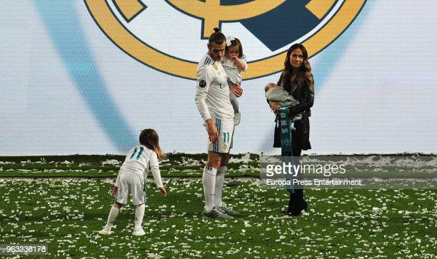 Gareth Bale his wife Emma RhysJones and kids Alba Bale Nava Bale and new born Axel Bale during the Real Madrid team celebration after winning their...