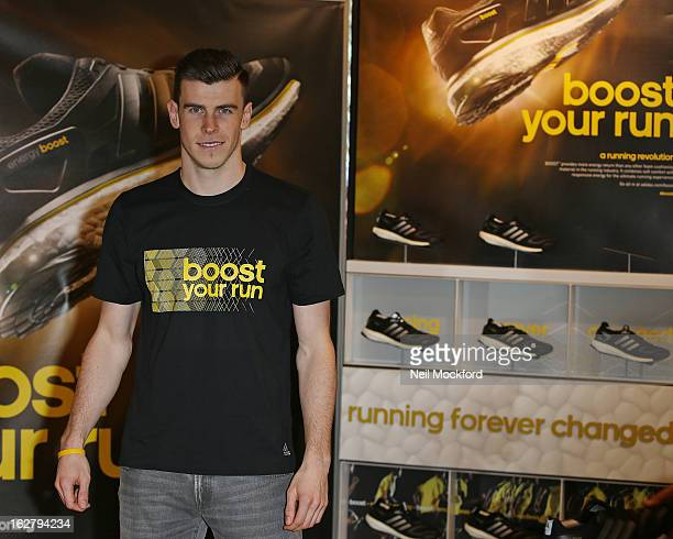 Gareth Bale is seen during the Adidas boost running shoe launch at the Adidas Store, Oxford St on February 27, 2013 in London, England.
