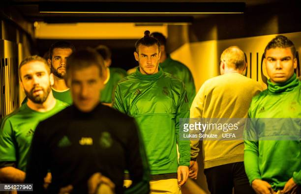 Gareth Bale of Madrid is focused in the player tunnel prior to the UEFA Champions League group H match between Borussia Dortmund and Real Madrid at...