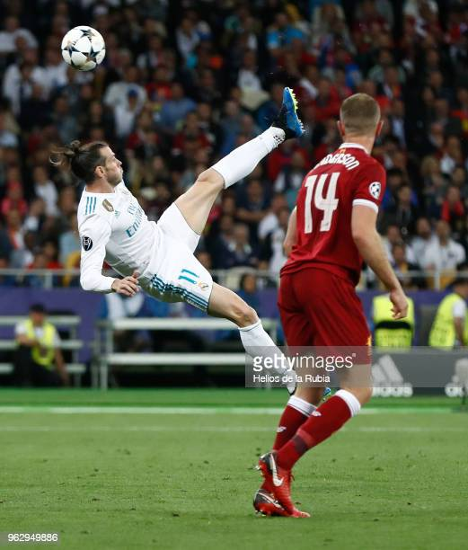 Gareth Bale of Madrid scores the goal during the UEFA Champions League Final match between Real Madrid and Liverpool at the Olympic Stadium in Kiev...