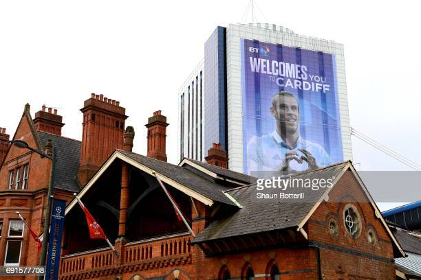 Gareth Bale of Real Madrid advert is seen near the stadium prior to the UEFA Champions League Final between Juventus and Real Madrid at the National...