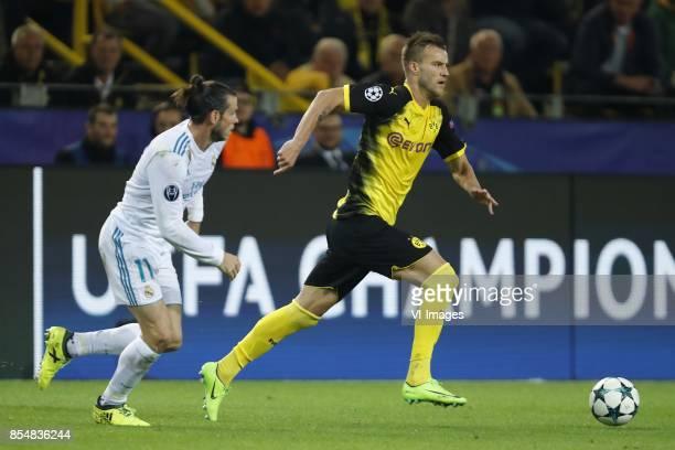 Gareth Bale of Real Madrid Andriy Yarmolenko of Borussia Dortmund during the UEFA Champions League group H match between Borussia Dortmund and Real...