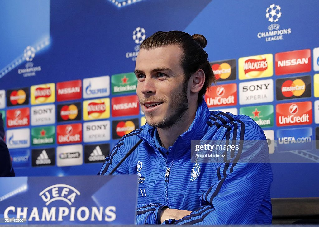 Gareth Bale of Real Madrid attends a press conference ahead of the UEFA Champions League Semi Final match between Manchester City FC and Real Madrid at the Etihad Stadium on April 25, 2016 in Manchester, United Kingdom.