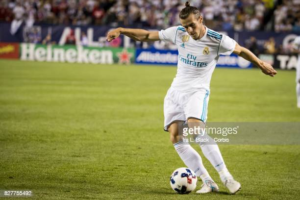Gareth Bale of Real Madrid bends to take the shot on goal during the MLS AllStar match between the MLS AllStars and Real Madrid at the Soldier Field...