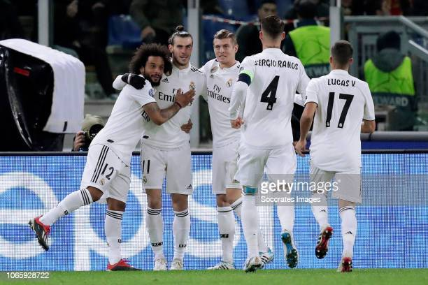 Gareth Bale of Real Madrid celebrates 01 with Marcelo of Real Madrid Toni Kroos of Real Madrid Sergio Ramos of Real Madrid Lucas Vazquez of Real...