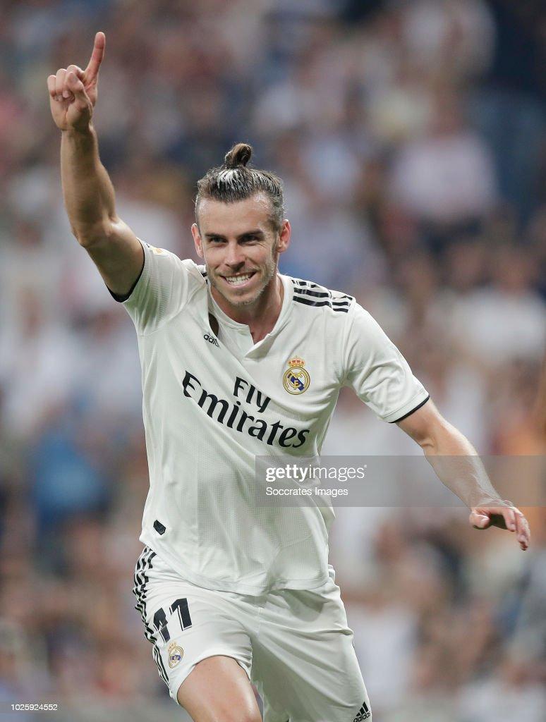 Gareth Bale of Real Madrid celebrates 1-0 during the La Liga Santander match between Real Madrid v Leganes at the Santiago Bernabeu on September 1, 2018 in Madrid Spain