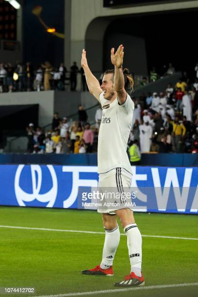 Gareth Bale of Real Madrid celebrates after scoring a goal to make it 03 during the FIFA Club World Cup UAE 2018 Semi Final match between Kashima...