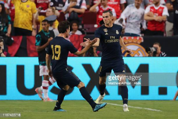 Gareth Bale of Real Madrid celebrates after scoring a goal to make it 12 during the International Champions Cup fixture between Real Madrid and...