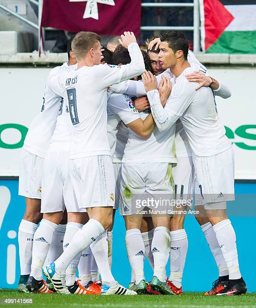 Gareth Bale of Real Madrid celebrates after scoring goal during the La Liga match between SD Eibar and Real Madrid at Ipurua Municipal Stadium on...