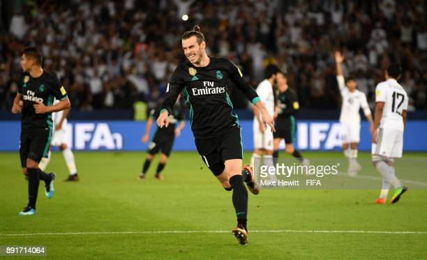 Gareth Bale of Real Madrid celebrates after scoring his sides second goal during the FIFA Club World Cup UAE 2017 semifinal match between Al Jazira...