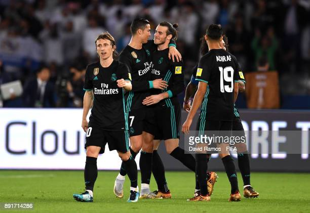 Gareth Bale of Real Madrid celebrates after scoring his sides second goal with Cristiano Ronaldo of Real Madrid during the FIFA Club World Cup UAE...