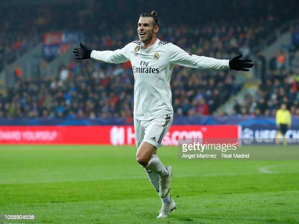 Gareth Bale of Real Madrid celebrates after scoring his team's fourth goal during the Group G match of the UEFA Champions League between Viktoria...
