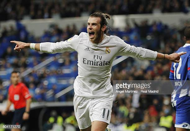 Gareth Bale of Real Madrid celebrates after scoring his team's fourth goal during the La Liga match between Real Madrid CF and RC Deportivo La Coruna...