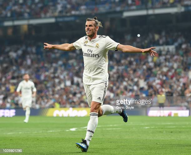 Gareth Bale of Real Madrid celebrates after scoring his team's opening goal during the La Liga match between Real Madrid CF and CD Leganes at Estadio...