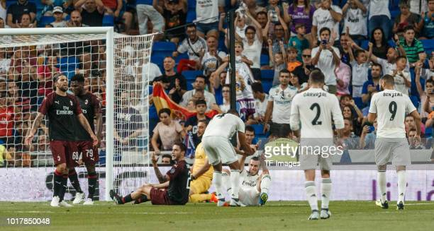 Gareth Bale of Real Madrid celebrates after scoring his team`s second goal with Sergio Ramos of Real Madrid Dani Carvajal of Real Madrid and Karim...