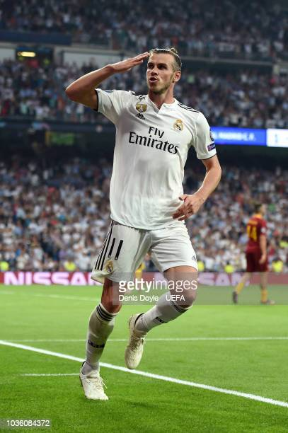 Gareth Bale of Real Madrid celebrates after scoring his team's second goal during the Group G match of the UEFA Champions League between Real Madrid...