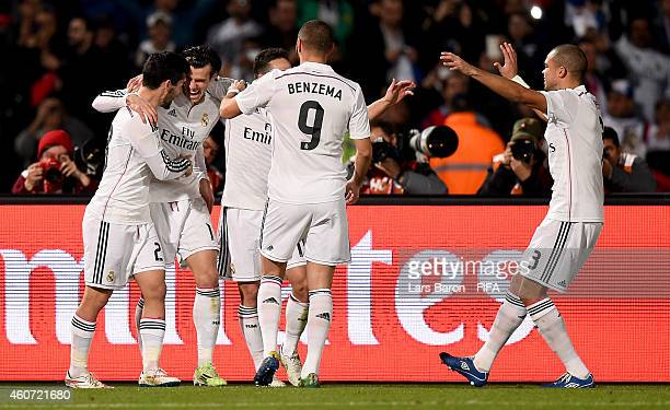 Gareth Bale of Real Madrid celebrates after scoring his teams second goal during the FIFA Club World Cup Final between Real Madrid and San Lorenzo at...