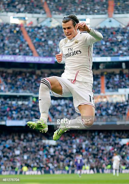 Gareth Bale of Real Madrid celebrates after scoring his team's second goal during the La Liga match between Real Madrid and RCD Espanyol at Estadio...