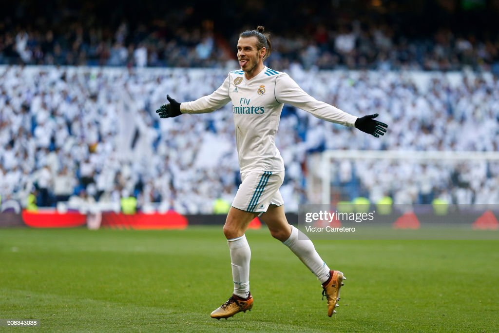 Gareth Bale of Real Madrid celebrates after scoring his team's second goal during the La Liga match between Real Madrid and Deportivo La Coruna at Estadio Santiago Bernabeu on January 21, 2018 in Madrid, Spain.