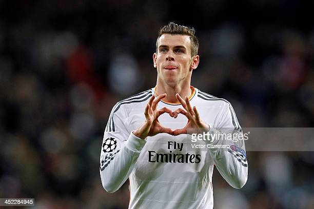 Gareth Bale of Real Madrid celebrates after scoring the opening goal during the UEFA Champions League Group B match between Real Madrid and...
