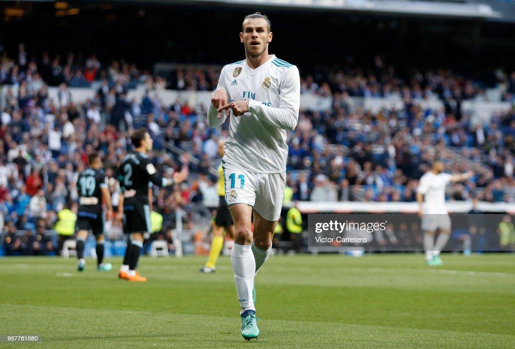 Gareth Bale of Real Madrid celebrates after scoring the opening goal during the La Liga match between Real Madrid and Celta de Vigo at Estadio Santiago Bernabeu on May 12, 2018 in Madrid, .