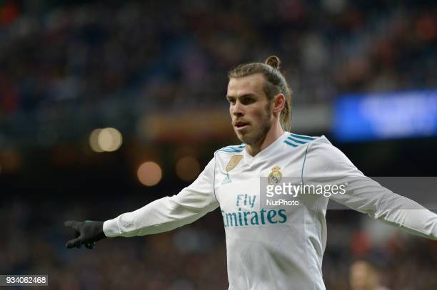 Gareth Bale of Real Madrid celebrates after the goal during a match between Real Madrid vs Girona FC at Santiago Bernabeu Stadium on March 18 2018 in...