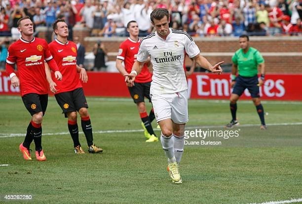 Gareth Bale of Real Madrid celebrates his second half goal against Manchester United during the second half of the Guinness International Champions...