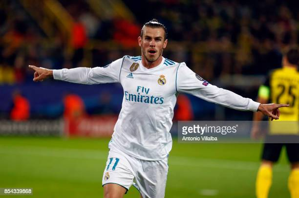 Gareth Bale of Real Madrid celebrates is goal during the UEFA Champions League group H match between Borussia Dortmund and Real Madrid at Signal...