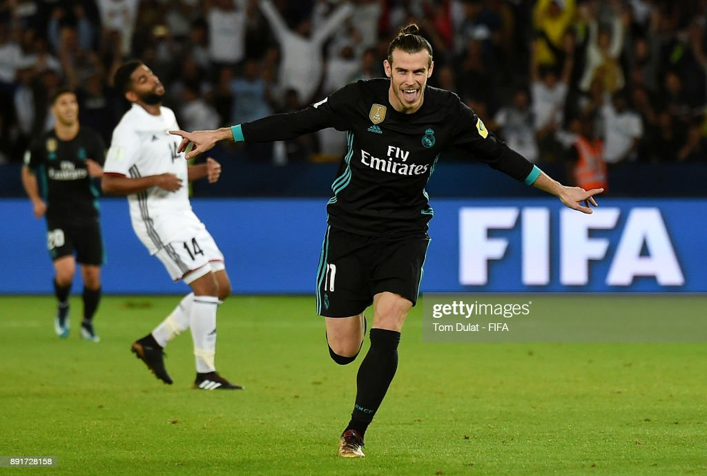 Gareth Bale of Real Madrid celebrates scoring a goal during the FIFA Club World Cup UAE 2017 semi final match between Al Jazira and Real Madrid CF at Zayed Sports City Stadium on December 13, 2017 in Abu Dhabi, United Arab Emirates.