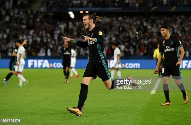 Gareth Bale of Real Madrid celebrates scoring a goal during the FIFA Club World Cup UAE 2017 semi final match between Al Jazira and Real Madrid CF at...