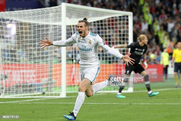 Gareth Bale of Real Madrid celebrates scoring a goal during the UEFA Champions League final between Real Madrid and Liverpool at NSC Olimpiyskiy...