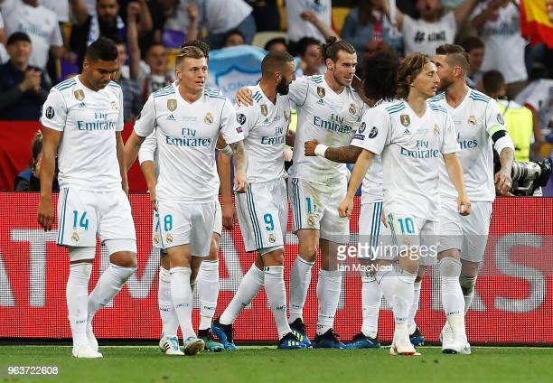 Gareth Bale of Real Madrid celebrates scoring his first goal during the UEFA Champions League final between Real Madrid and Liverpool on May 26 2018...