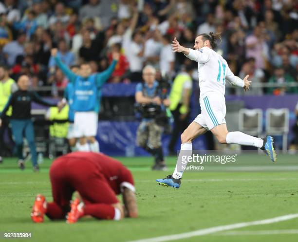 Gareth Bale of Real Madrid celebrates scoring his side's first goal during the UEFA Champions League Final between Real Madrid and Liverpool at NSC...