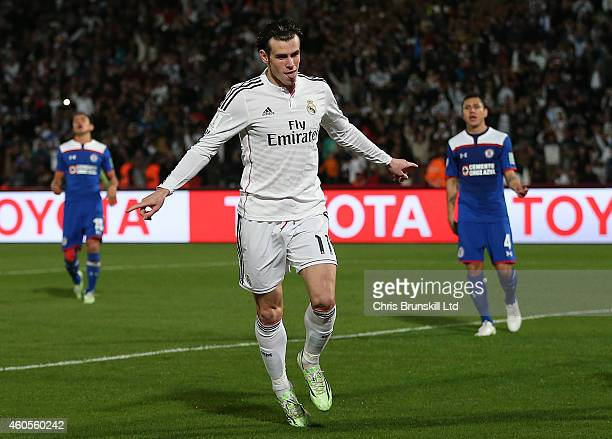 Gareth Bale of Real Madrid celebrates scoring his side's third goal during the FIFA Club World Cup Semi Final match between Cruz Azul and Real Madrid...