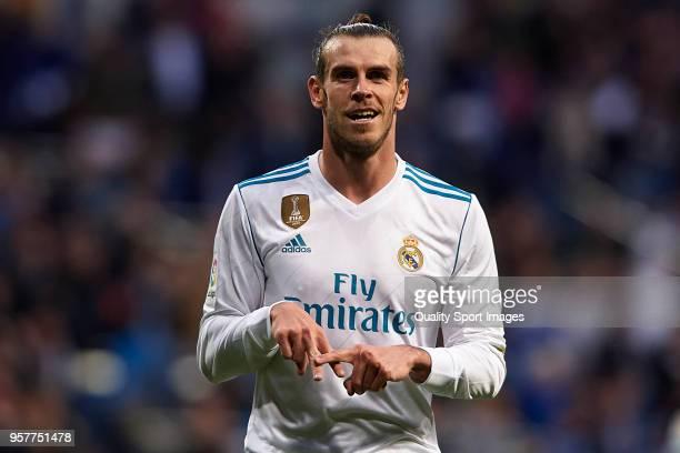 Gareth Bale of Real Madrid celebrates scoring his team's second goal during the La Liga match between Real Madrid and Celta de Vigo at Estadio...