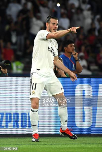 Gareth Bale of Real Madrid celebrates scoring the opening goal during the FIFA Club World Cup semifinal match between Kashima Antlers and Real Madrid...