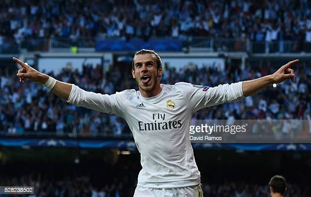 Gareth Bale of Real Madrid celebrates scoring the opening goal during the UEFA Champions League semi final second leg match between Real Madrid and...