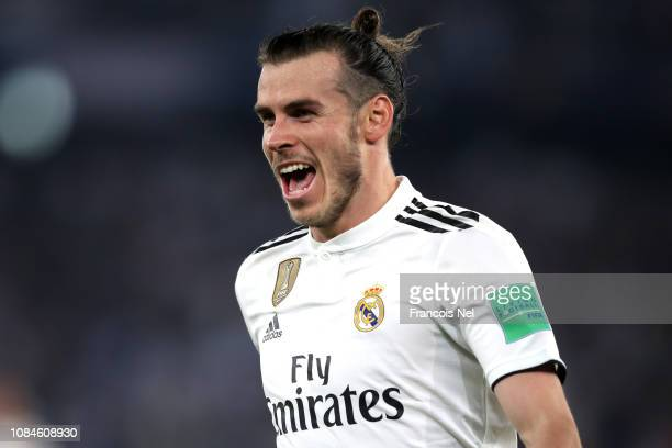Gareth Bale of Real Madrid celebrates scoring their second goal during the FIFA Club World Cup semifinal match between Kashima Antlers and Real...