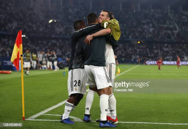 Gareth Bale of Real Madrid celebrates with Casemiro of Real Madrid after scoring their second goal during the FIFA Club World Cup semifinal match...