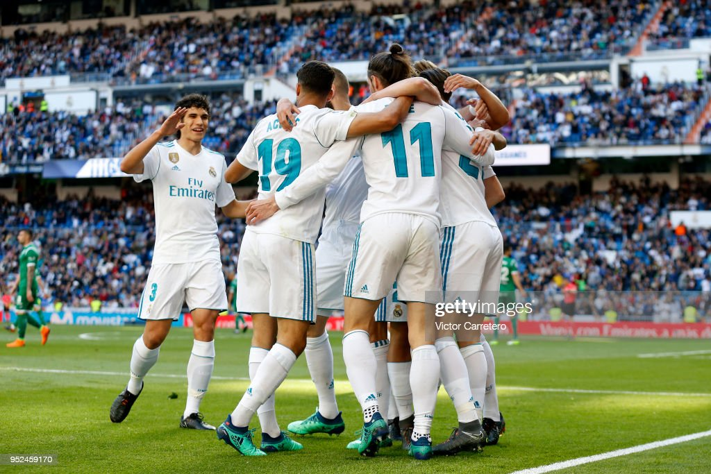 Gareth Bale of Real Madrid celebrates with teammates after scoring the opening goal during the La Liga match between Real Madrid and Leganes at Estadio Santiago Bernabeu on April 28, 2018 in Madrid, Spain.